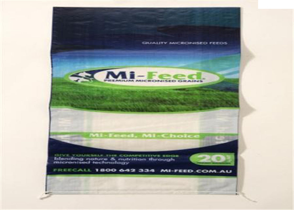 White Woven Polypropylene Feed Bags Dog Food Sack With Gravure Printing